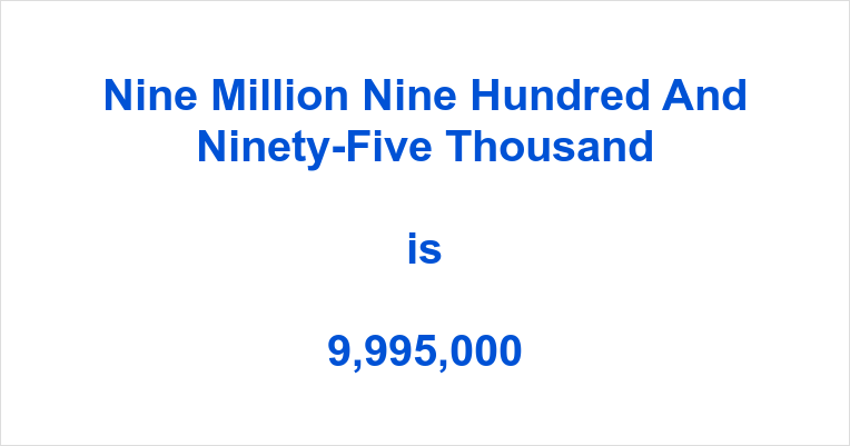 Nine Million Nine Hundred and Ninety-Five Thousand in Numbers